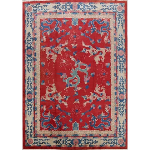 "Red Dragons Design Art Deco Chinese Oriental Area Rug Handmade Carpet - 8'11"" x 11'10"""