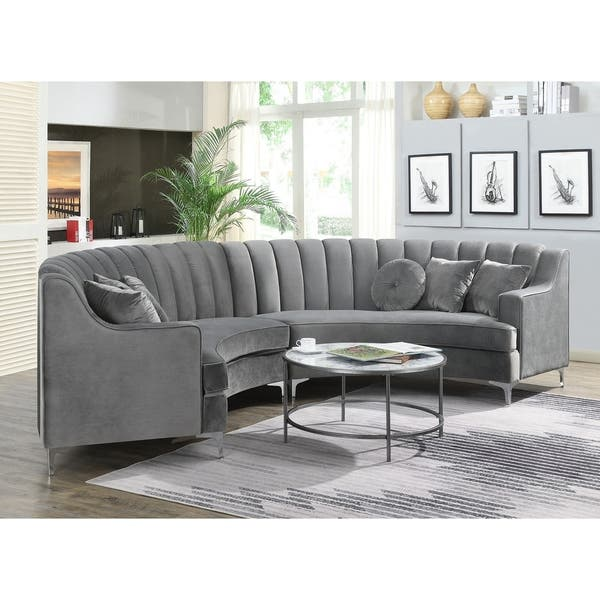 Semi Circular Velvet Sectional Sofa Overstock 30891280