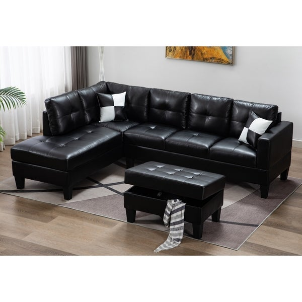 3 Pieces Sectional Sofa With Storage Ottoman. Opens flyout.