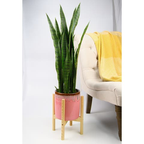 "UPshining Mid Century Ceramic Planter 8"" Pink with Wood Stand"