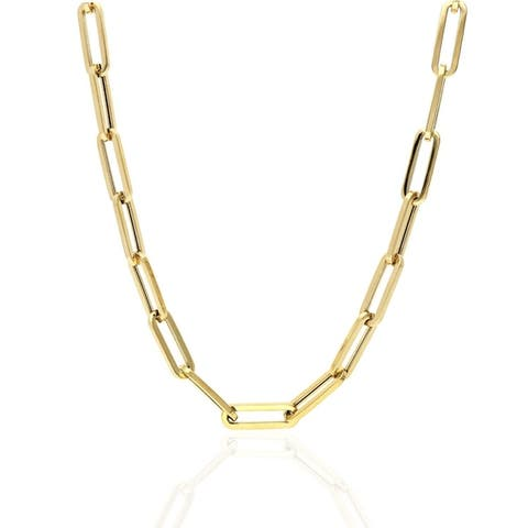"""Womens 14k Yellow Gold 6mm Paperclip Elongated Link Chain Necklace 18"""" & 30"""", Capital Jewelry"""