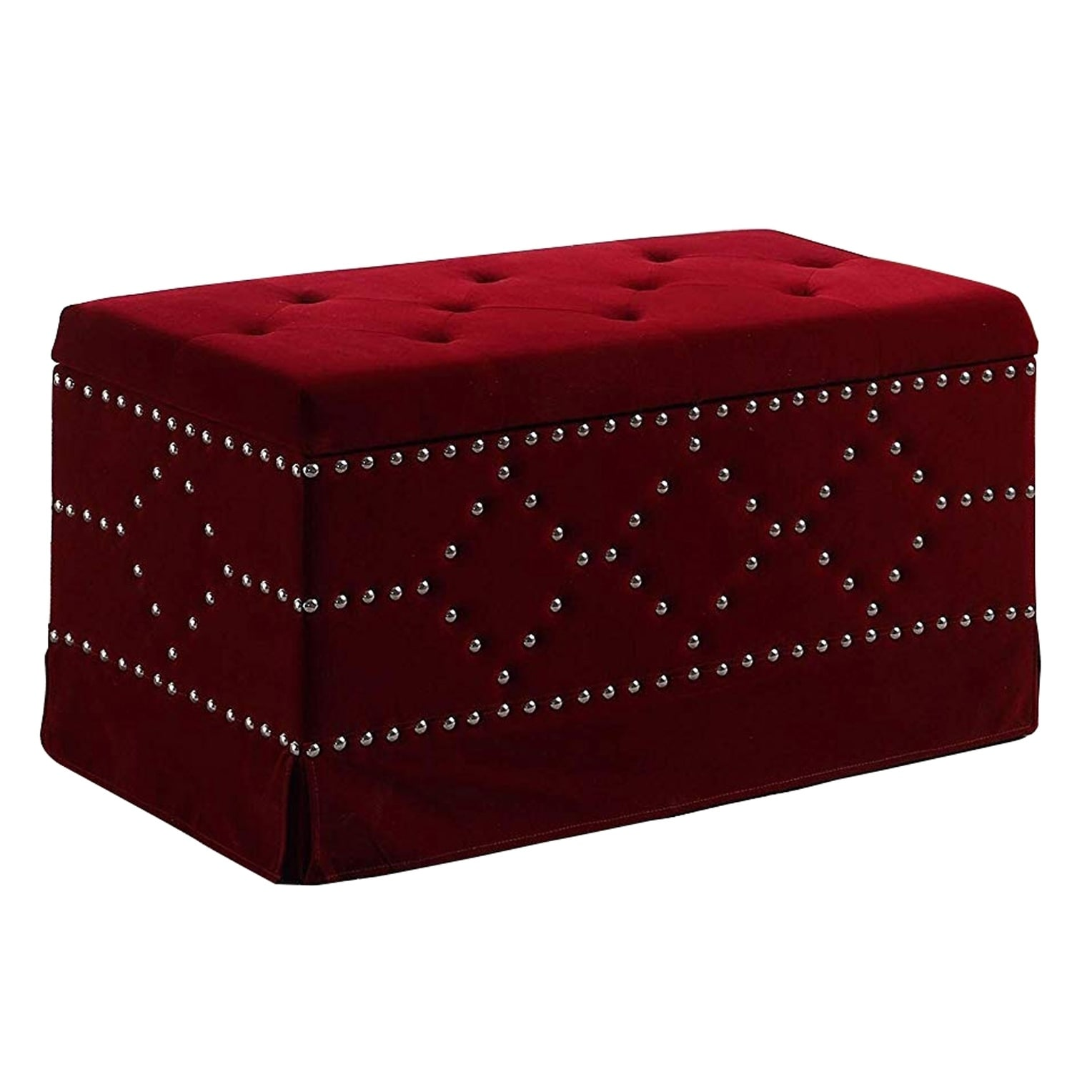 Picture of: Shop Black Friday Deals On Velvet Upholstered Tufted Wooden Storage Bench With Nailhead Trims Red On Sale Overstock 30892592