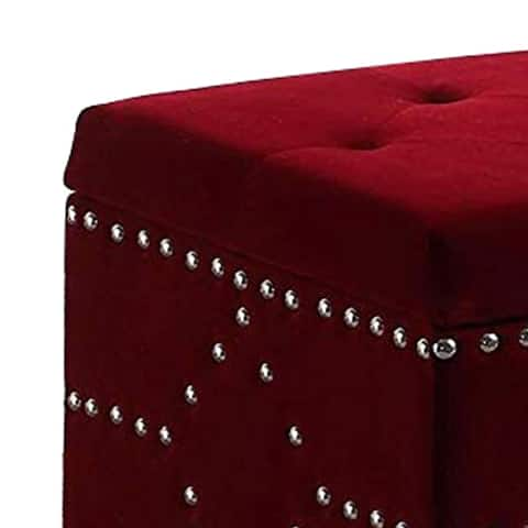 Velvet Upholstered Tufted Wooden Storage Bench with Nailhead Trims,Red