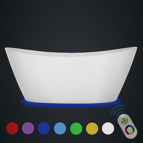 Empava 59 in Acrylic Freestanding Bathtub 7 Color Changing LED Lights Soaking Tub with Wireless Remote Control