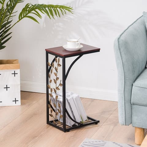 C Type Leaf Pattern Iron Side Table Coffee Table Living Room Furniture