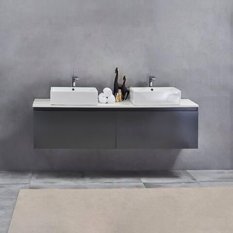 "71"" Contemporary Double Wall Monted Bathroom Vanit, Nova Matt Gray"