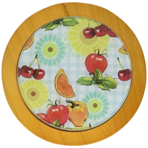 Creative Home Tempered Glass Round Trivet with Wood Trim