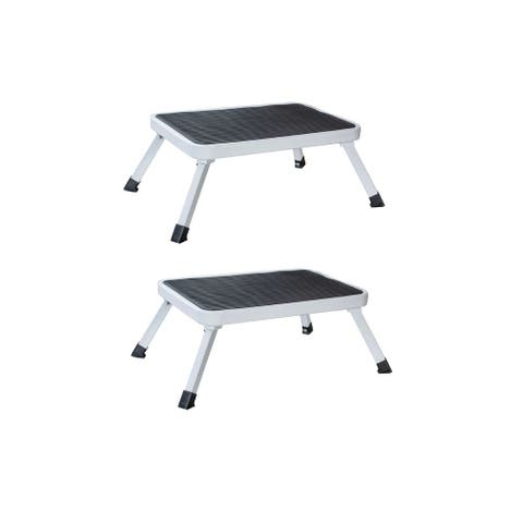AmeriHome Steel 1-Step Folding Platform Stool, 2 Piece Set - White