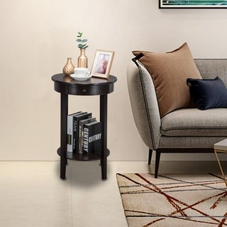 Modern Nightstand Side End Table Round Accent Table with Drawer
