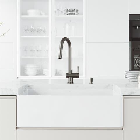 VIGO Double-Bowl Matte Stone Sink and Faucet in Matte Black