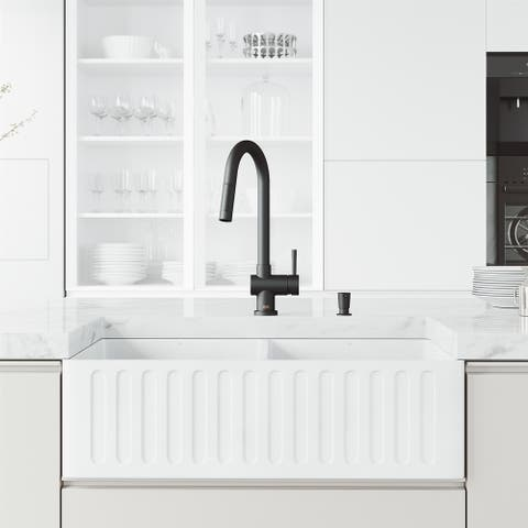 """VIGO Matte Stone 36"""" Matte Stone Kitchen Sink with Faucet in Stainless Steel"""