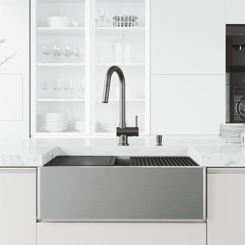"""VIGO Oxford 30"""" Stainless Steel Kitchen Sink with Faucet in Graphite Black"""