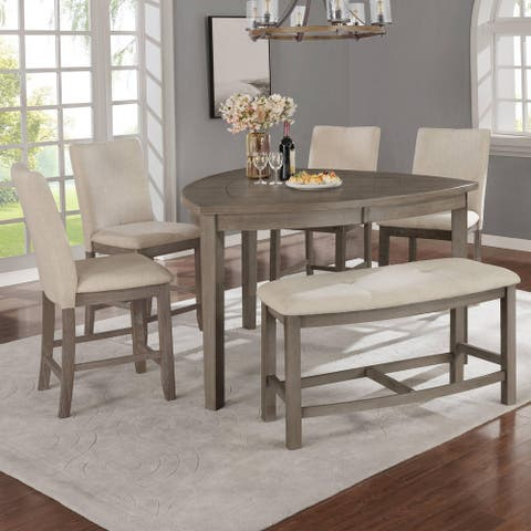 Best Quality Furniture 6-Piece Counter Height Dining Set with Upholstered Counter Height Dining Chairs and Bench