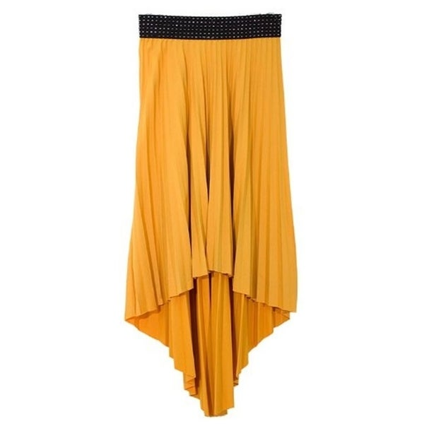Peach Couture Hi Lo Pleated Skirt with Ribbon Stitch Elastic Waist