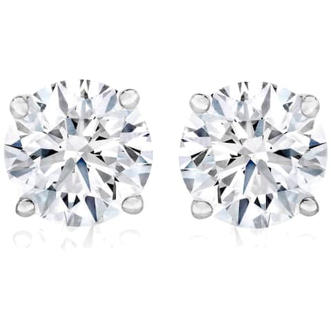 1 Ct TW Moissanite Studs Available in White or Yellow Gold