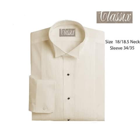 "Mens 1/8"" Pleat 18/18.5 Neck 34/35 Sleeve Tuxedo shirt, Wing Ivory"