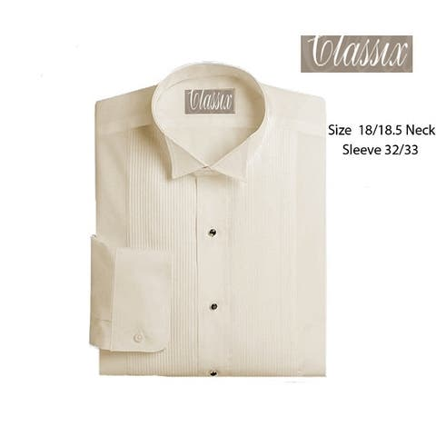 Men's Wing Collar Tuxedo Shirt, 18/18.5 32/33 Ivory
