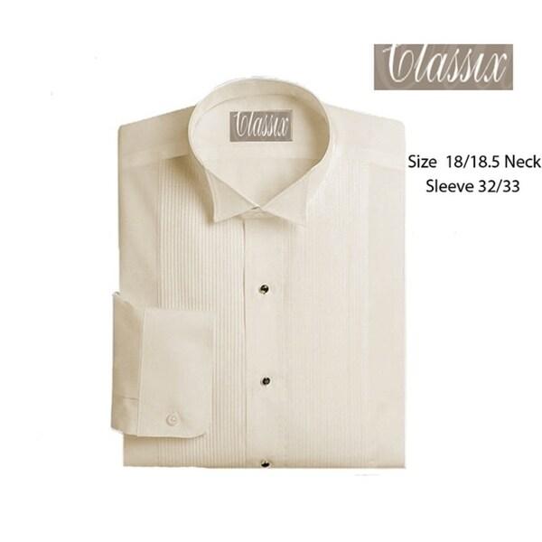 Mens Wing Collar Tuxedo Shirt 18/18.5 32/33 Ivory
