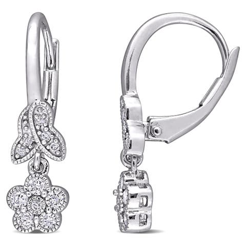 Miadora Sterling Silver 1/3ct TDW Diamond Floral Leverback Earrings