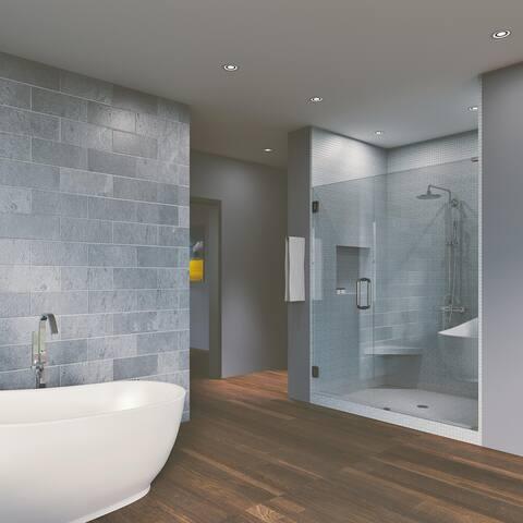 """45.75'' x 76"""" Hinged Frameless Shower Door & Panel Reversible"""