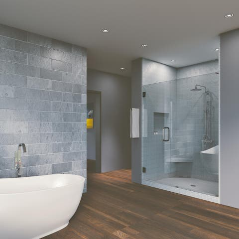 """46.75'' x 80"""" Hinged Frameless Shower Door & Panel Reversible"""