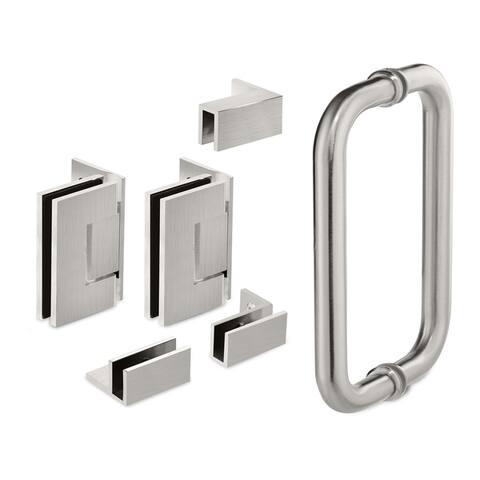 """36.75'' x 76"""" Hinged Frameless Shower Door & Panel Reversible"""