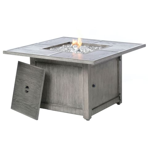 """Cheyenne 40"""" Square Cast Aluminum Outdoor Propane Gas Fire Pit with Firebeads"""