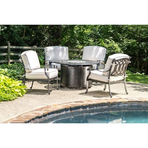 """Lisbon 44"""" Round Outdoor Propane Gas Firepit with Firebeads"""