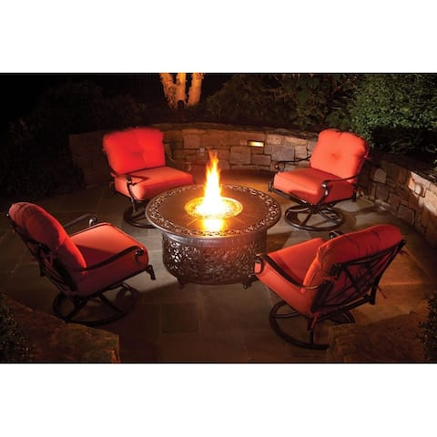 """Bellagio 48"""" Round Cast Aluminum Outdoor Propane Gas Fire Pit with Firebeads-Blacksmith"""