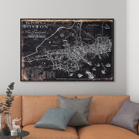 Oliver Gal Wall Art Framed Canvas Prints 'Town of Boston Map 1722'