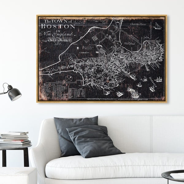 Oliver Gal Wall Art Framed Canvas Prints 'Town of Boston Map 1722'. Opens flyout.