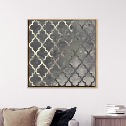 Oliver Gal Abstract Wall Art Framed Canvas Prints 'Arabesque Silver' Patterns - Gray, Gray