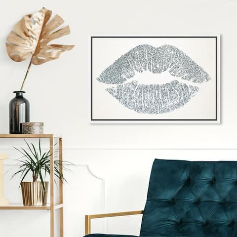 Oliver Gal Fashion and Glam Wall Art Framed Canvas Prints 'Solid Kiss Silver' Lips - Gray, White