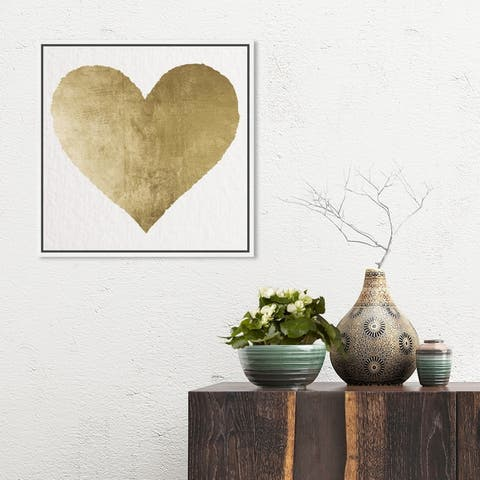 Oliver Gal Fashion and Glam Wall Art Framed Canvas Prints 'Forever and Ever' Hearts - Gold, White