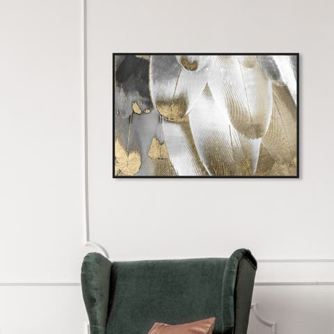 Oliver Gal Fashion and Glam Wall Art Framed Canvas Prints 'Royal Feathers' Feathers - Gold, White