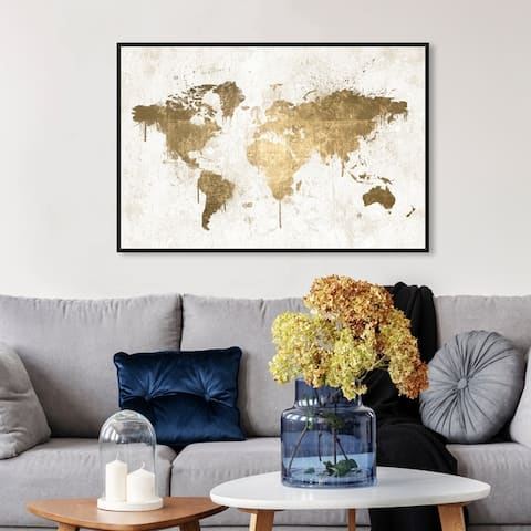 Oliver Gal Maps and Flags Wall Art Framed Canvas Prints 'Mapamundi White Gold' World Maps - Gold, White