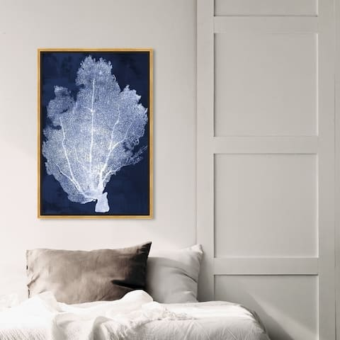 Oliver Gal Nautical and Coastal Wall Art Framed Canvas Prints 'Coral Fan Cyanotype 2' Marine Life - Blue, White