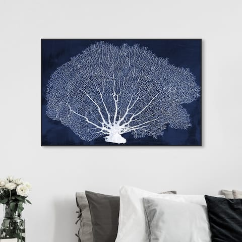 Oliver Gal Nautical and Coastal Wall Art Framed Canvas Prints 'Coral Fan Cyanotype' Marine Life - Blue, White