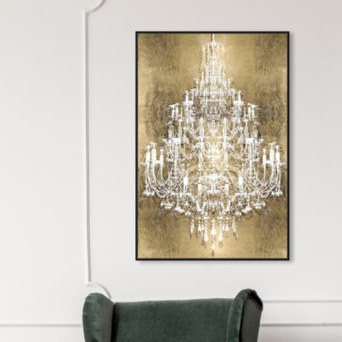 Oliver Gal Fashion and Glam Wall Art Framed Canvas Prints 'Montecarlo Gold' Chandeliers - Gold, White