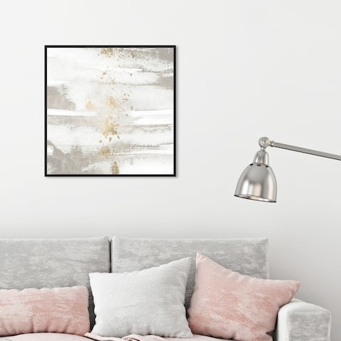Oliver Gal Abstract Wall Art Framed Canvas Prints 'Sun and Rain' Paint - White, Gold