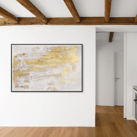 Oliver Gal Abstract Wall Art Framed Canvas Prints 'Pure Love' Paint - Gold, White