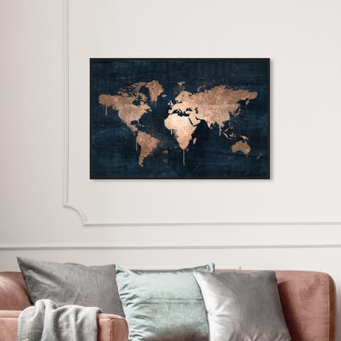 Oliver Gal Maps and Flags Wall Art Framed Canvas Prints 'Mapamundi Copper' World Maps - Bronze, Blue