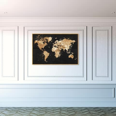 Oliver Gal Maps and Flags Wall Art Framed Canvas Prints 'Mapamundi on the Rocks Night' World Maps - Black, Gold