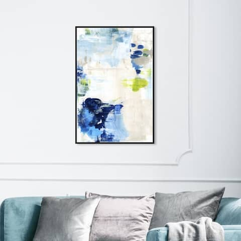 Oliver Gal Abstract Wall Art Framed Canvas Prints 'Perks' Paint - Blue, White
