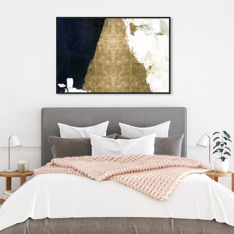 Oliver Gal Abstract Wall Art Framed Canvas Prints 'Night and Day' Paint - Gold, Gold