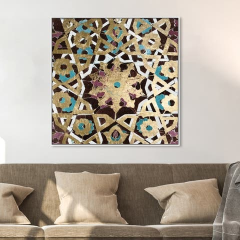 Oliver Gal Abstract Wall Art Framed Canvas Prints 'Falling into Place' Patterns - Gold, Purple