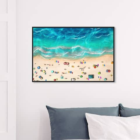 Oliver Gal Nautical and Coastal Wall Art Framed Canvas Prints 'A Day At the Beach' Coastal - Blue, Yellow
