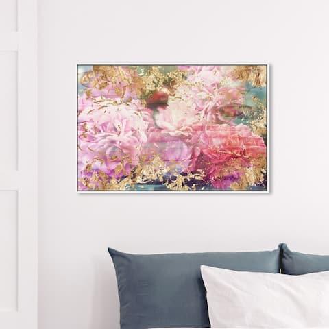 Oliver Gal Floral and Botanical Wall Art Framed Canvas Prints 'Rose Rhapsody' Florals - Pink, Gold