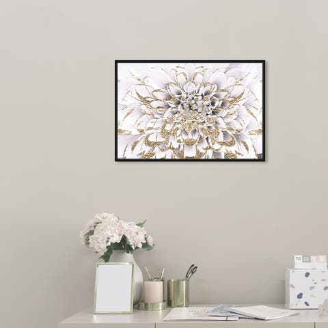 Oliver Gal Floral and Botanical Wall Art Framed Canvas Prints 'Floralia Blanc' Florals - White, Gold