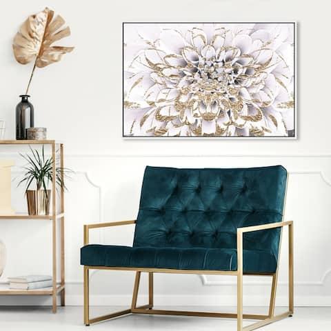 Oliver Gal Floral and Botanical Wall Art Framed Canvas Prints 'Floralia Blanc' Florals - White, Gold